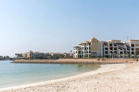 musandam: Sultanate of Oman Souly Bay Beach and Hotels Oceanside 3 Stock Photo