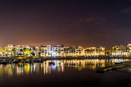 Amazing night lights in Sultanate Oman Souly Bay harbour and Hotels Oceanside 3
