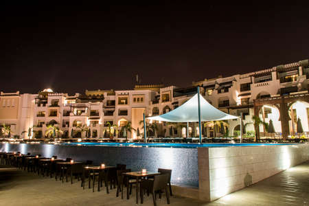 Oman, Salalah, 19.10.2016 -Amazing night lights at Hotel Al Fanar Souly Bay Hotels Pool