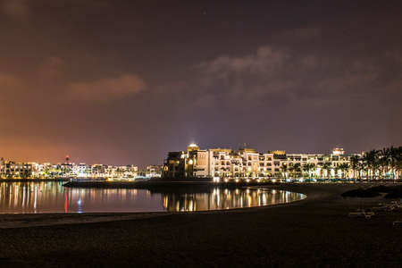 Amazing night lights in Sultanate Oman Souly Bay harbour and Hotels Oceanside 5