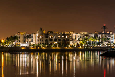 Amazing night lights in Sultanate Oman Souly Bay harbour and Hotels Oceanside 7 Stock Photo