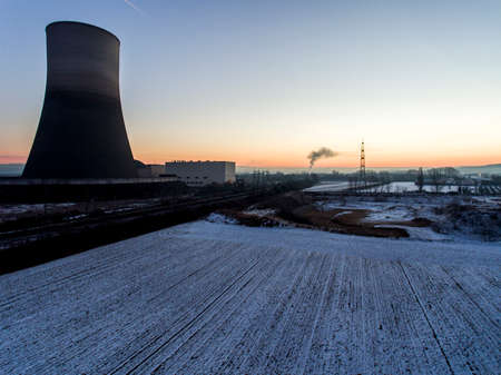 nuclear power plant sunset sunrise Radiation soil environment Stock Photo
