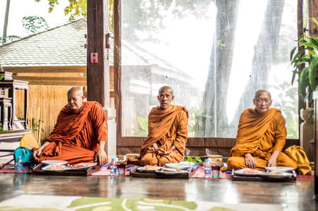 ordain: Koh Phangan thailand 28.09.2015 - Buddha monks pray ceremony Put hands together Editorial