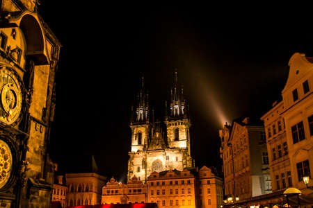 Famous Tyn Cathedral Twin Tower at night illuminated on Prague Town Square Czech Republic Europe Stock Photo