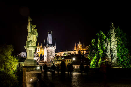 Czech Republic Prague Charles Bridge Castle Cathedral and more at twilight capitol city at night
