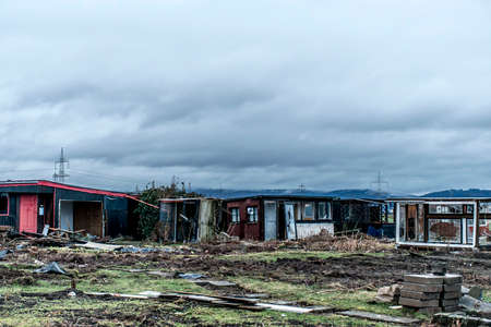 destructive: Old creepy dark abandoned destructive dirty house broken windows
