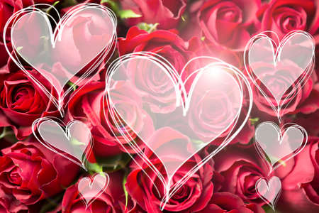 textspace: Rose bouquet a love you message in heart light hearts card valentine textspace copyspace