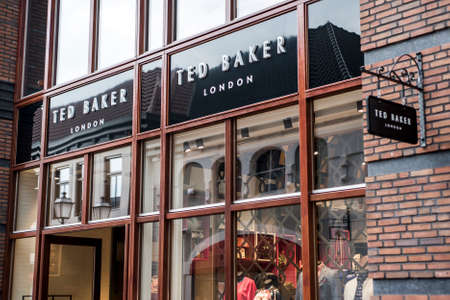 Roermond Netherlands 07.05.2017 Logo of the Ted Baker London Store in the Mc Arthur Glen Designer Outlet shopping area