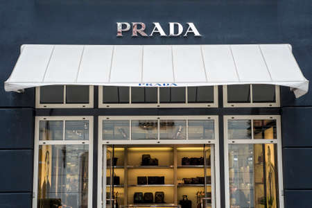 prada: Roermond Netherlands 07.05.2017 Logo of the Prada luxury Store in the Mc Arthur Glen Designer Outlet shopping area Editorial