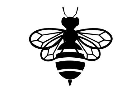 black Bee silhouette on white background symbol icon insect