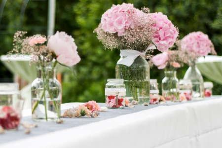 Flowers settings decoration outdoor setup for a wedding with stock flowers settings decoration outdoor setup for a wedding with pink colored flower stock photo 79968492 mightylinksfo