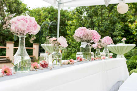 Flowers settings decoration outdoor setup for a wedding with stock flowers settings decoration outdoor setup for a wedding with pink colored flower stock photo 79946342 mightylinksfo