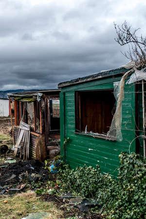 Old creepy dark abandoned destructive dirty house broken windows