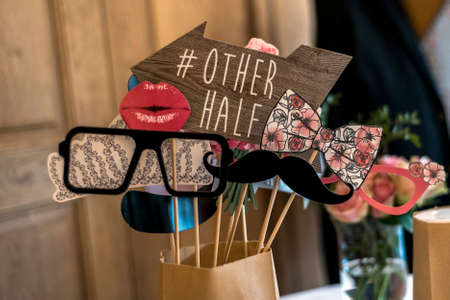 Retro Party set Glasses, hats, lips, mustaches, masks design photo booth party wedding funny pictures Stock fotó - 83353226