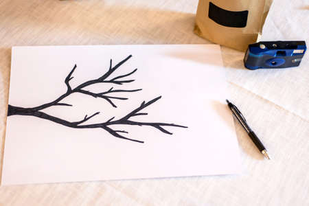 Marriage guestbook Hand drawn illustration of tree branch texture Grunge background abstract pen Paper branches leaf veins Stock Photo