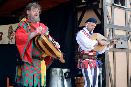 06.04.2015 Lorelay Germany - Musicians in medieval costume perform on the street during traditional Medieval fair Editorial