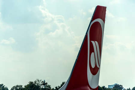 DUSSELDORF, GERMANY SEPTEMBER 03, 2017: Airbus A320 Air Berlin at the airport of Dusseldorf while taxiing