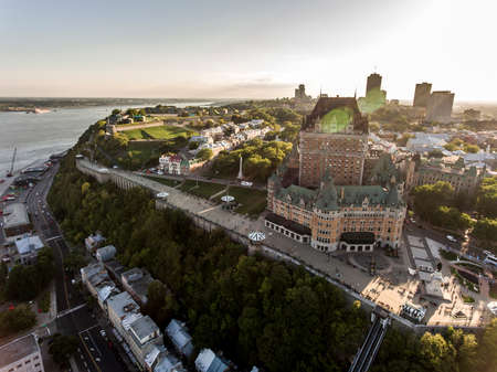 Aerial helicopter view of skyline sunset in Quebec City Canada