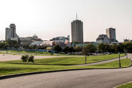 ville: Modern City Skyline - view from Parc des Champs-de-Bataille National Battlefields Park Quebec City Canada