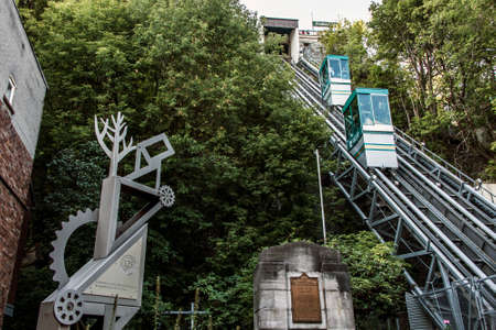 QUEBEC CITY, CANADA 13.09.217 Old Funicular links Upper Town Lower Town funicular railway Editorial