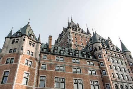 casa colonial: Canadá Quebec City Sunset Chateau Frontenac la atracción turística más famosa de la UNESCO Patrimonio de la Humanidad