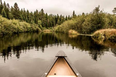 Canoe Nose Calm Peaceful Quite Lake Algonquin Park, Ontario Canada Tree Reflection Shoreline Pine Tree Forest Shore line Stock Photo