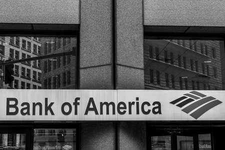 Boston massachusetts USA 06.09.2017 Bank of America logo American multinational banking financial services corporation