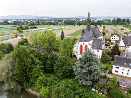 Aerial View Of small village church Landmark in vallendar niederwerth near Koblenz Andernach Germany Stock Photo