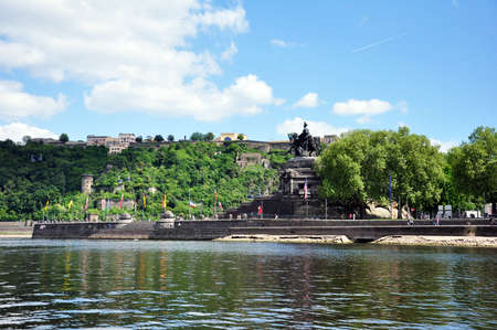 Koblenz City Germany historic monument German Corner where the rivers rhine and mosele flow together on a sunny day 写真素材