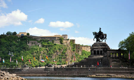 Koblenz City Germany historic monument German Corner where the rivers rhine and mosele flow together on a sunny day Foto de archivo