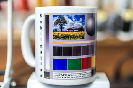 sublimation mug designer production machine print pictures an coffee cup design Editorial