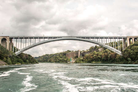 Panoramic view of Rainbow Bridge near the Niagara Falls border america to canada Stok Fotoğraf