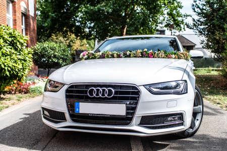 Koblenz Germany 31.08.2018 Wedding car, Audi with Wedding decorations