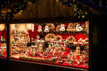 Koblenz GERMANY 16.12.2017 Christmas market stall in Old Town on selling gifts toys and decoration