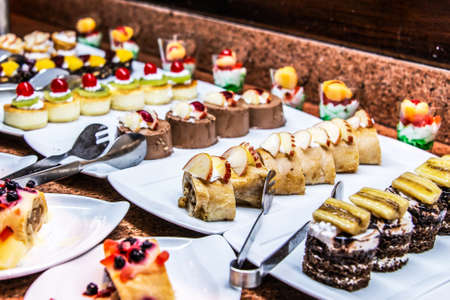 Close up delicious dessert pastry cakes Fresh colourful sweet berry desserts, beautifull decorated in Egypt Makadi Bay