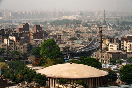 aerial view on the city of Cairo, Egypt, Africa. Cairo is the largest city on the African continent Stok Fotoğraf