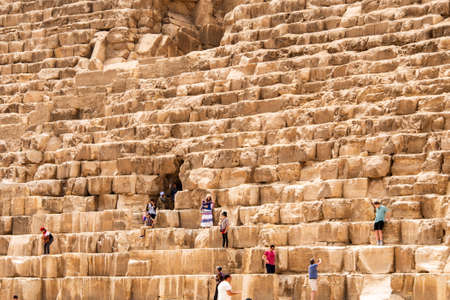 GIZA, EGYPT 25.05.2019 Security guards at entrance to pyramid at Giza in Cairo Egypt