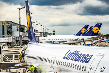Frankfurt Germany 23.02.19 Lufthansa Airbus twin-engine jet airliner standing at the fraport airport waiting for flight