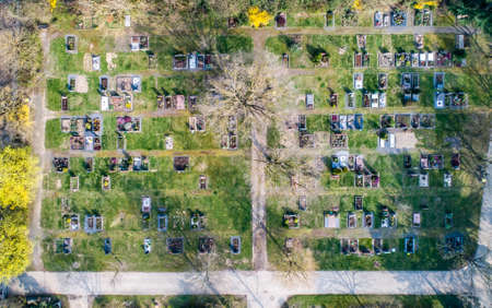 Aerial drone view of a church graveyard cemetary Germany