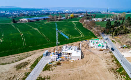 Aerial view of road streets new development area for real estate hme building construction germany