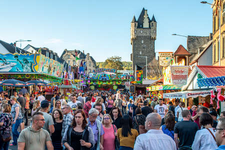 Mayen Germany 14.10.2018 people fairground rides at biggest folk festival in Rhineland Palantino the lukasmarkt in Mayen Editorial