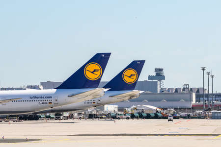 Frankfurt Germany 11.08.19 Lufthansa Airbus twin-engine jet airliner standing at the fraport airport waiting for flight Editorial