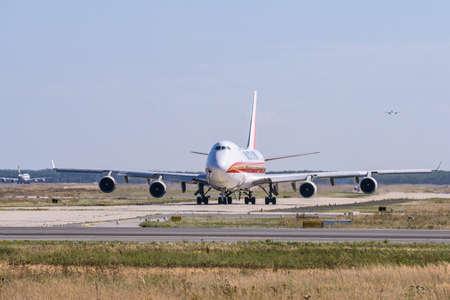 Frankfurt Germany 11.08.19 Kalitta Air Boeing 747 Jumbo Jet 4-engine jet airliner starting at fraport airport takeoff