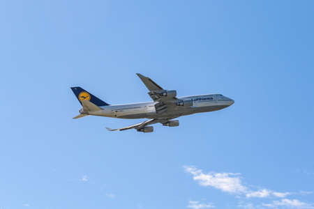 Frankfurt Germany 11.08.19 Lufthansa Boeing 747 Jumbo Jet 4-engine jet airliner starting at the fraport airport takeoff