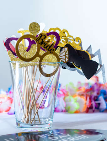 Retro Party set Glasses, lips, mustaches, masks design photo booth party wedding funny pictures 스톡 콘텐츠 - 131957433