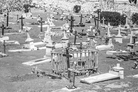 Headstones at a Pet Graveyard cementary in Tenerife for animals