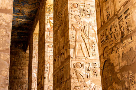 Temple Medinet Habu Egypt Luxor of Ramesses III is an important New Kingdom period structure in the West Bank of Luxor