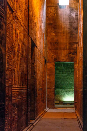 enlightened hieroglyphs Inside the sanctuary at the centre of the egyptian Temple of Horus at Edfu, in Egypt.