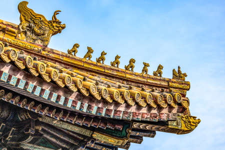 China, Beijing, Forbidden City Different design elements of the colorful buildings rooftops closeup details Stock fotó