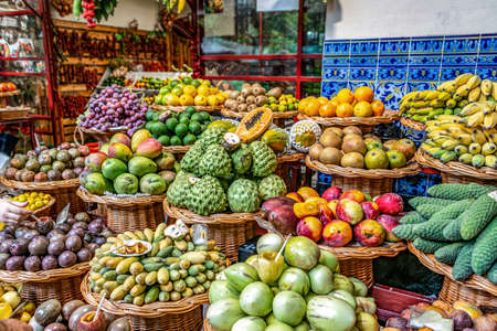 Fresh exotic fruits on famous market in Funchal Mercado dos Lavradores Madeira island, Portugal Standard-Bild